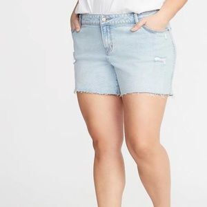 Plus-Size Boyfriend Distressed Cut-Off Jean Shorts